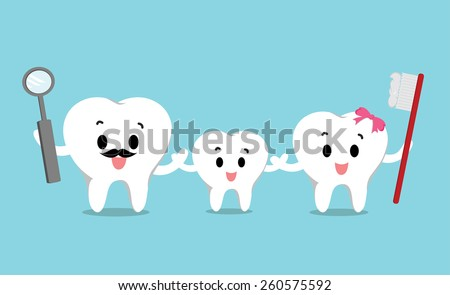 Vector of Cute healthy white teeth family for Health care  - stock vector