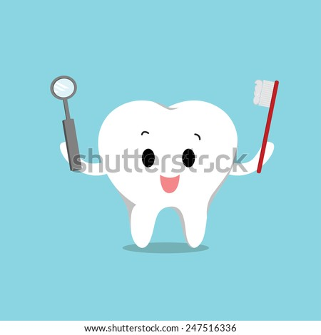 Vector of Cute healthy white teeth for Healthcare - stock vector