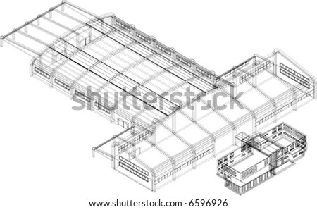 vector of 3D building in wire frame - stock vector