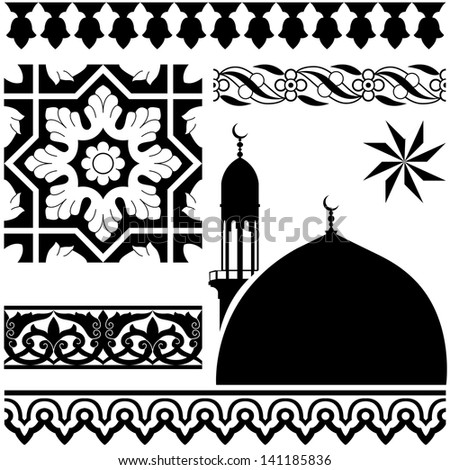 Vector of different Islamic pattern on white background - stock vector