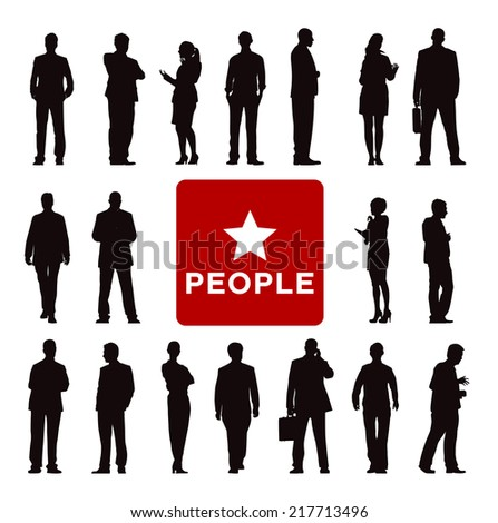 Vector of Diverse Business People's Silhouettes - stock vector