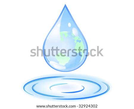 Vector of earth in a drop