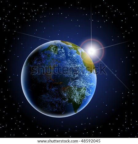 Vector of earth in space with sun rising and clouds - stock vector