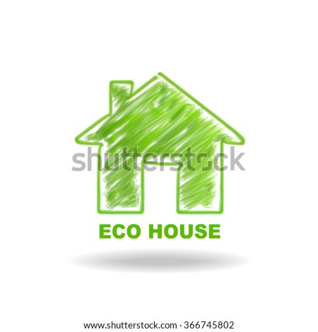 Vector of ECO House illustration by doodle painting line - stock vector