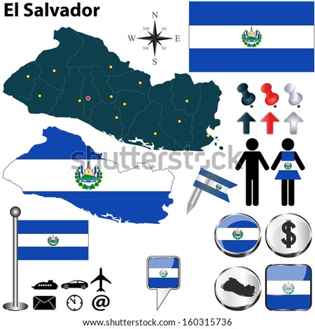 Vector of El Salvador set with detailed country shape with region borders, flags and icons - stock vector