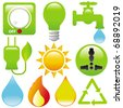 Vector of Energy Saving, light, water, electricity, fire, solar power. A set of cute and colorful icon collection isolated on white background - stock vector