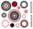 vector of extra fancy design elements, seals, circles, stamps, post marks, rings, stars, bursts and shapes in red, white and black, isolated on white background - stock vector
