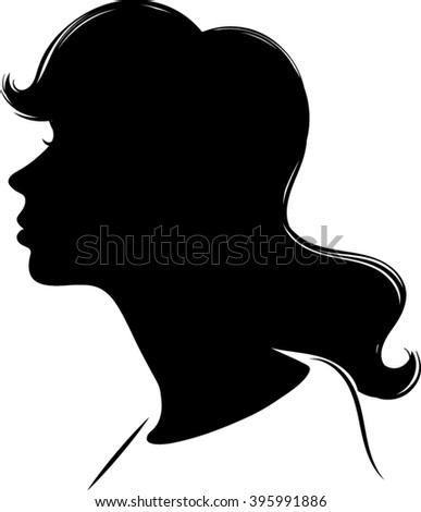 Vector of Female Cameo Silhouette - stock vector