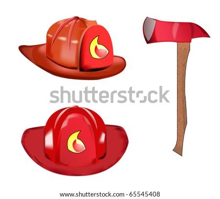Vector of fireman helmet and axe - stock vector