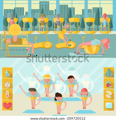 Vector of Fitness icon set flat design,Fitness People - Vector Illustration, - stock vector