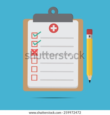 Vector of flat clinical record.for icon, web design .medical records and pencil for doctor  - stock vector