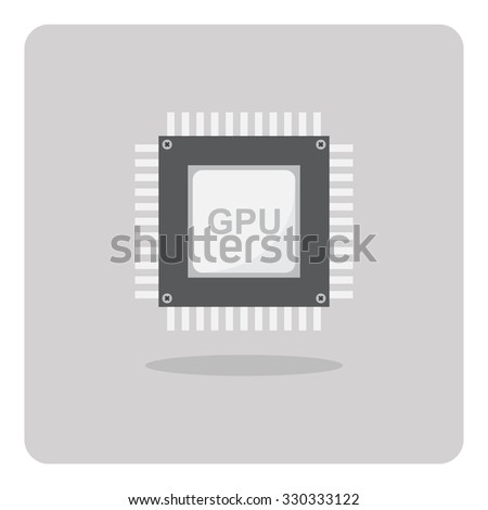 Vector of flat icon, Graphics Processing Unit (GPU) chip on isolated background - stock vector