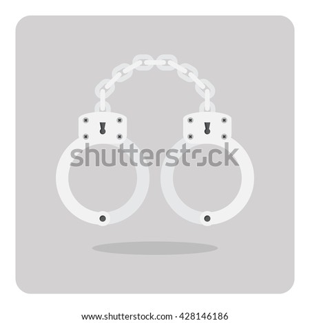Vector of flat icon, Handcuff on isolated background - stock vector