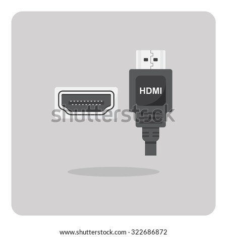 Vector of flat icon, HDMI connector on isolated background - stock vector