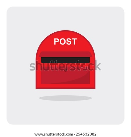 Vector of flat icon, red mail box on isolated background - stock vector