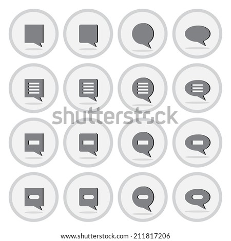 Vector of flat icon, speech bubble set on isolated background - stock vector