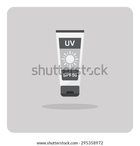 Vector of flat icon, sunscreen lotion on isolated background - stock vector
