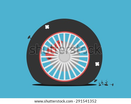 Vector of Flat tire  - stock vector