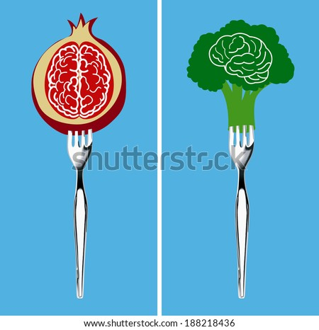 Vector of Foods for healthy brain, Clean Eating Concept. - stock vector