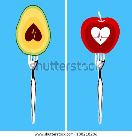 Vector of Foods for healthy heart. Clean Eating Concept. - stock vector