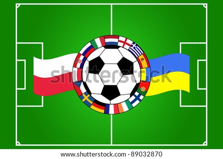 vector of football ball with field and flags of Poland and Ukraine - stock vector