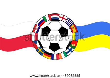 vector of football ball with flags of Poland and Ukraine - stock vector
