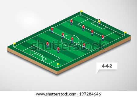 vector of football formation tactic 4-4-2 - stock vector