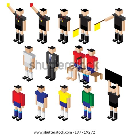vector of football player referee and staff coach - stock vector