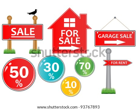 Vector of For sale signs on white - stock vector