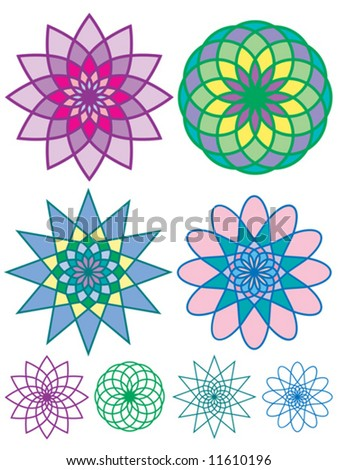 Vector of four colorful geometric patterns, each filled in with color and as an outline.