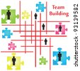 Vector of four jigsaw puzzle pieces on the topic of team building. - stock photo