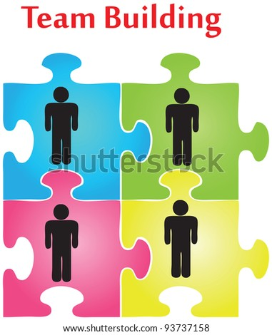 Vector of four jigsaw puzzle pieces on the topic of team building. - stock vector