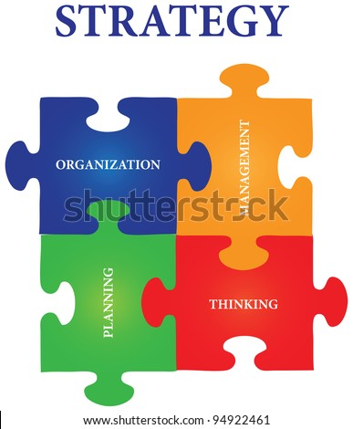 Vector of four jigsaw puzzle pieces with words on the topic of strategy. - stock vector