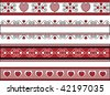 Vector of four red, black and white Valentine borders with gingham trim. - stock photo