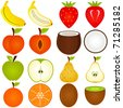 Vector of fresh fruit vegetable cut in half, cross section. Set of cute and colorful icon collection isolated on white background - banana strawberry peach coconut apple pear orange kiwi - stock vector