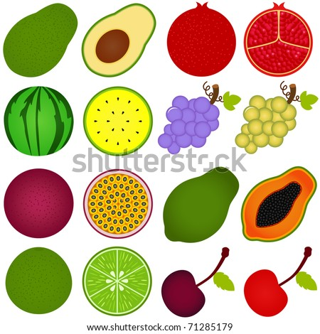 Vector of fresh fruit vegetable cut in half, cross section. Set of cute and colorful icon collection isolated on white background - avocado pomegranate watermelon grape passionfruit papaya lime cherry