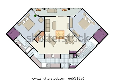 2 bedroom condo floor plans vector furnished twobedroom condofloor plan stock vector 22819