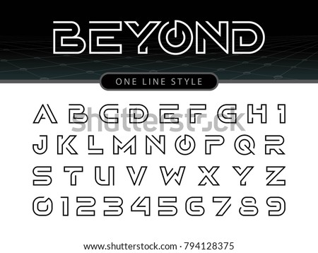 Vector Of Futuristic Alphabet Letters And Numbers One Linear Stylized Rounded Fonts Single