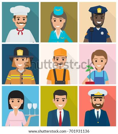 Vector of gardener with plant, manager and lifesaver, smiling stewardess, waiter with tray, whiskered builder, bearded mariner, cook and policeman