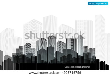 vector of graphical urban cityscape, Black building - stock vector