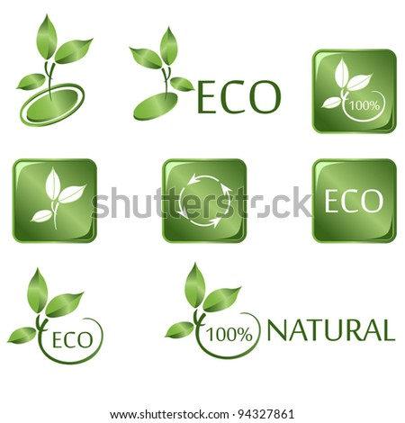 Vector of Green ECO icons on white - stock vector