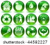 vector of green icons with symbols of nature - stock photo