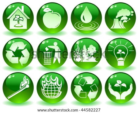 vector of green icons with symbols of nature - stock vector