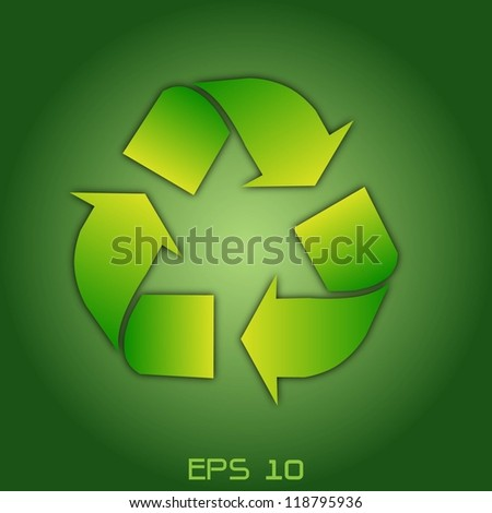 Vector of green recycle icon - stock vector