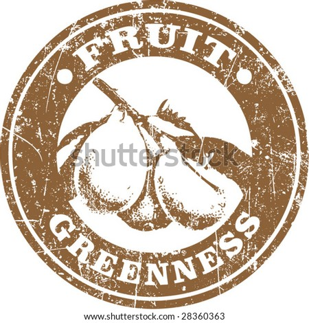 Vector of grunge fruit related stamp or label