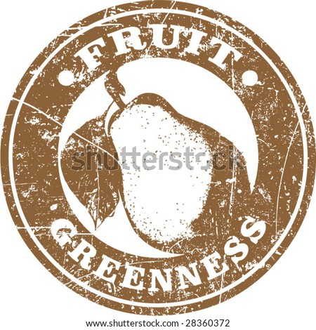 Vector of grunge fruit related stamp or label - stock vector