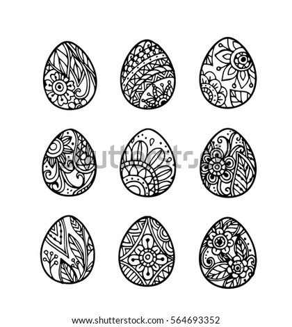 Vector Of Hand Draw Easter Egg Set