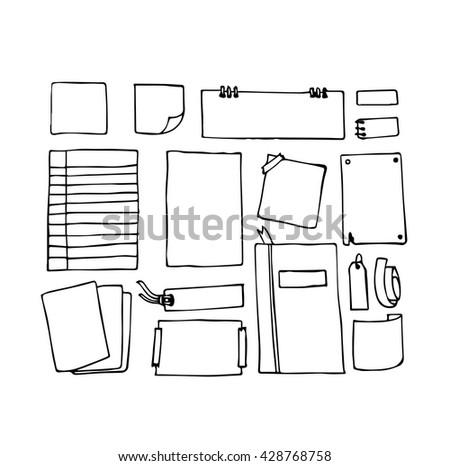 Vector hand draw paper note document vector de stock428768758 vector of hand draw of paper note and document malvernweather Images