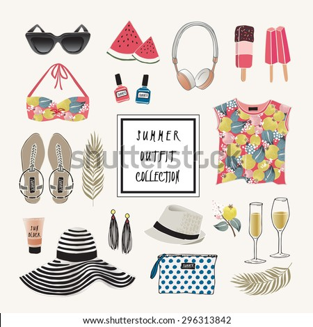 Vector of hand drawn fashion illustration. A set of summer outfit collection with accessories and flowers. - stock vector