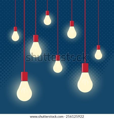 vector of Hanging light bulbs with depth of field. Modern art - stock vector